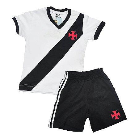 Kit Infantil Camisa Retrô Vasco da Gama 1948 - Branco