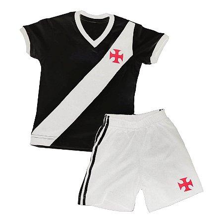Kit Infantil Camisa Retrô Vasco da Gama 1948 - Preto