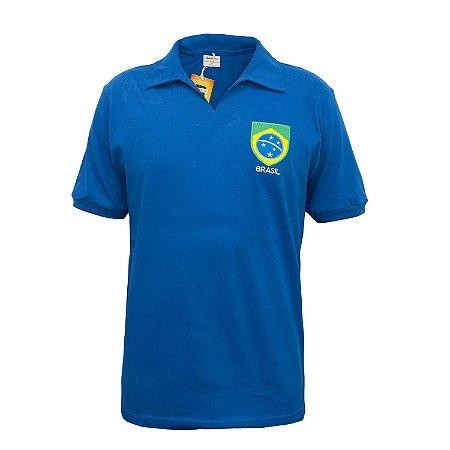 Camisa Retrô Brasil - Polo Azul
