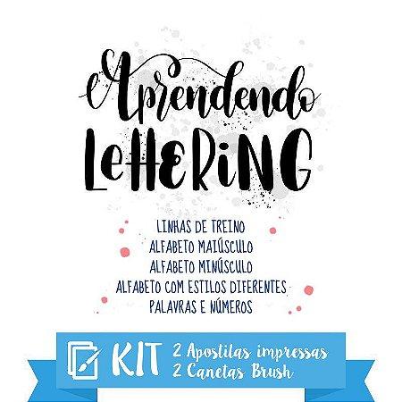 KIT Lettering | 2 apostilas impressas + 2 canetas brush