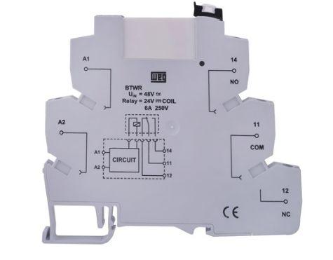 Borne relé 24Vca/Vcc,base+relé extraível, contato 1NAF, montagem em trilho DIN 35 mm.