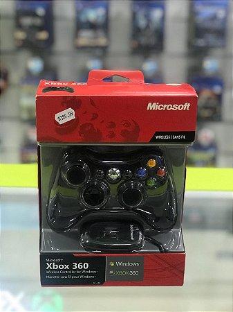 Controle Joystick Sem Fio Microsoft  360 Black
