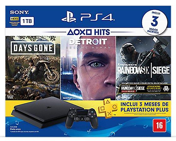 Playstation 4 1TB + 2 jogos seminovos a sua escolha