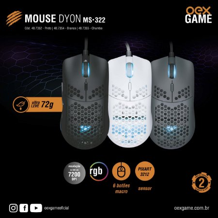 Mouse Gamer Dyon - MS322 - OEX