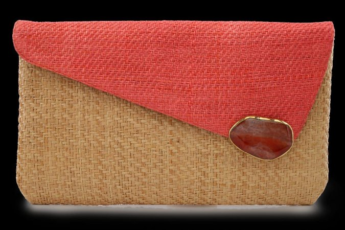 CLUTCH DB PALHA  NATURAL PEDRA