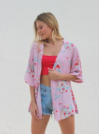 Kimono Floral Rosa