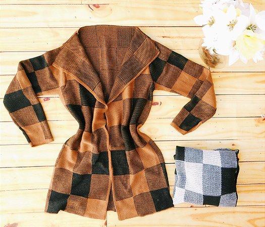 Kimono Cardigan Tricot Xadrez