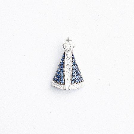 Pingente Nossa Senhora Aparecida Zircônia Azul