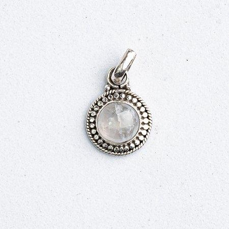Pingente Pedra da Lua Medalha Bolinhas
