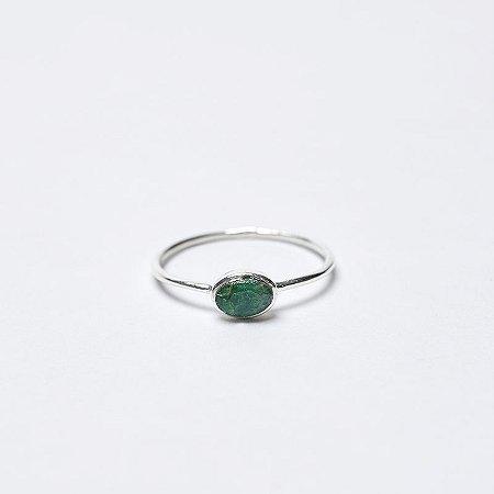 Anel Pedra Esmeralda Oval