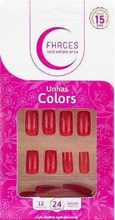 Unhas Fhaces Colors Vermelho Vivo - 24 unhas