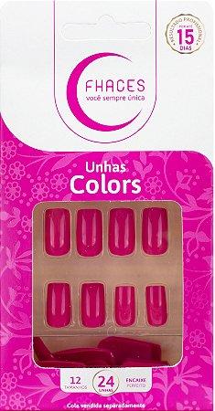Unhas Fhaces Colors Rosa Pink - 24 unhas