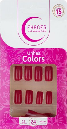 Unhas Fhaces Colors Vermelho Poderoso - 24 unhas
