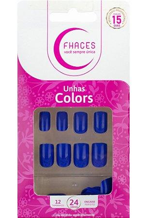 Unhas Fhaces Colors Azul Safira - 24 unhas