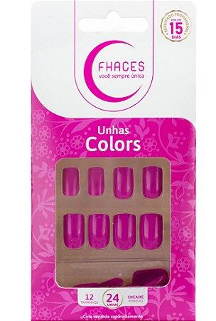 Unhas Fhaces Colors Rosa Fúcsia - 24 unhas