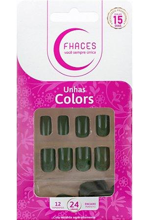 Unhas Fhaces Colors Verde Militar - 24 unhas