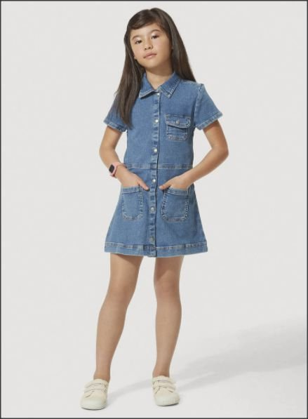 Vestido Jeans Infantil Com Elastano Play Jeans Hering Kids - Azul