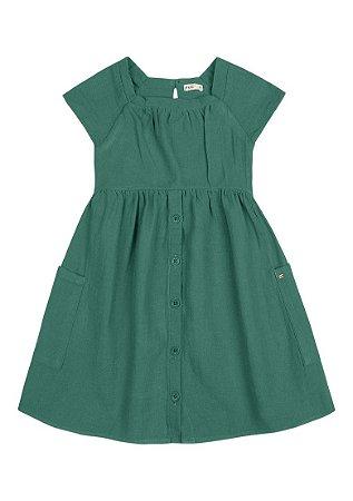 Vestido Infantil Em Tecido Com Bolsos - Verde