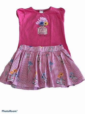 Conjunto Blusa Rosa  e Short Saia -Fakini Kids