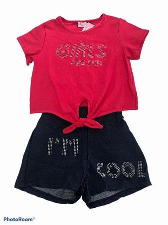 conjunto com blusa rosa e short - DuDuKa
