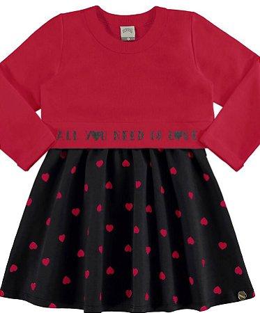 Vestido Moletom sem Felpa e Molecotton sem Felpa vermelho