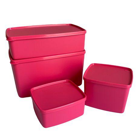 Tupperware Kit Freezer Rosa Pink 4 Pecas