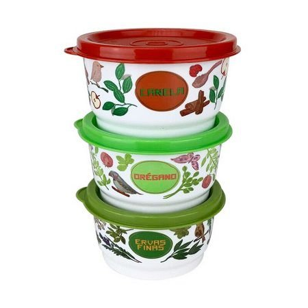 Tupperware Kit Potinhos Floral 3 Pecas