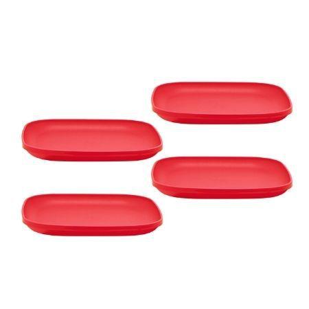 Tupperware Prato Vermelho Policarbonato 4 Pecas