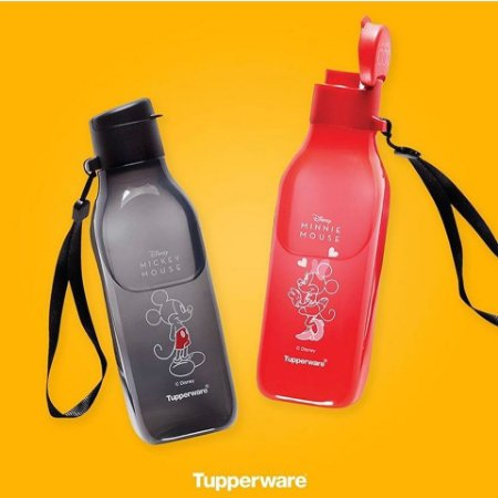 Tupperware Eco Garrafas 500ml Quadrada Minnie e Mickey Mouse