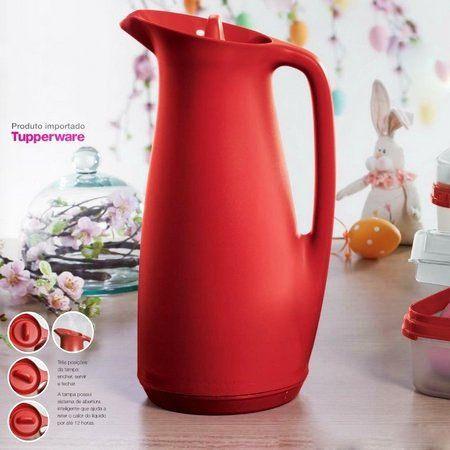 Tupperware Garrafa Térmica 1 Litro Vermelha Importada