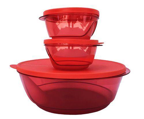 Tupperware Tigelas Design Vermelha 3 Pecas