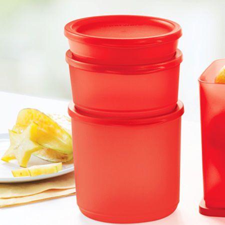 Tupperware Refri Line Redondo 3 Pecas Vermelho