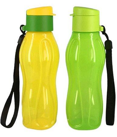 Tupperware Eco Garrafa 310ml Verde e Amarela 2 Pecas