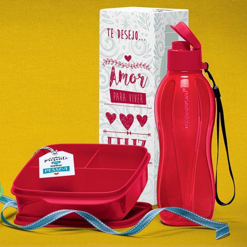 Tupperware Kit Eco Garrafa 500ml e Basic Line 550ml Com Divisórias