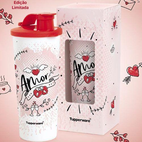 Tupperware Copo com Bico Amor 470ml Branco e Vermelho