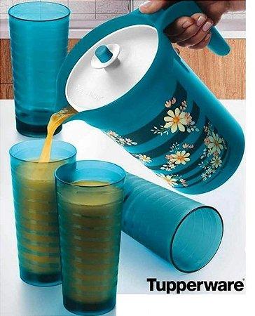 Tupperware Jarra Ilúmina 2 Litros e Copos Iris 530ml Turmalina