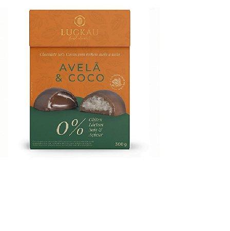 Ovo de Páscoa Vegano 50% Cacau com recheio Coco e Avelã300g