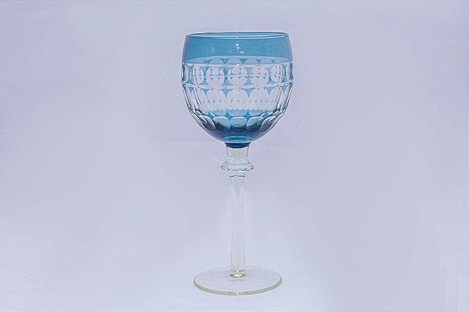 Taça de Água Lapidada Azul em Vidro com 6 pçs