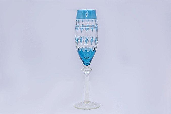 Conjunto de Taças de Champagne Lapidada Azul em Vidro  com 6 pçs