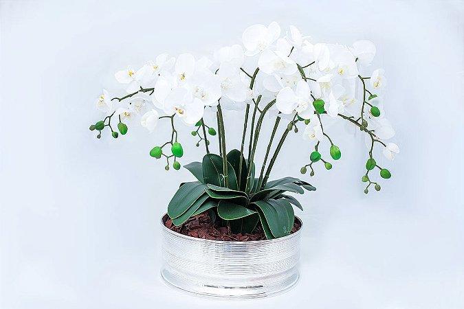 Centro de Mesa Spin em Prata com Arranjo de Orquídeas