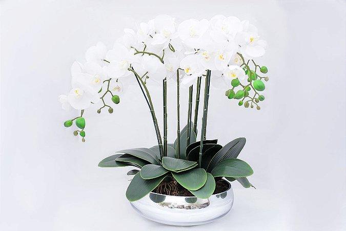 Centro de Mesa em Vidro Espelhado com Orquídeas