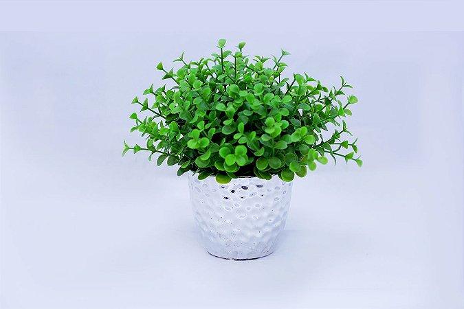 Vaso de Cerâmica Prata com Bucho Verde