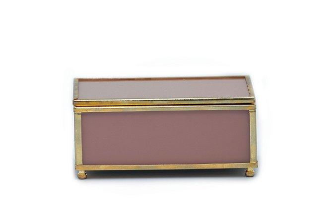 Caixa Rosa com Dourado P