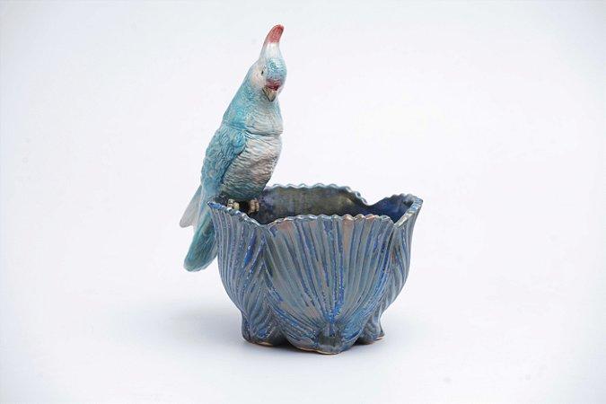 Cachepot Palmeira Azul com Calopsita Azul P em Cerâmica