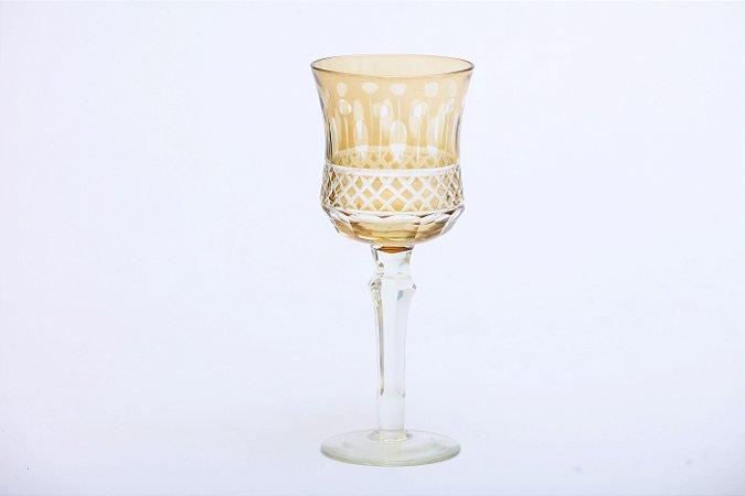 Conjunto de Taças para Água em Vidro Cristalino  com Lapidação em Âmbar