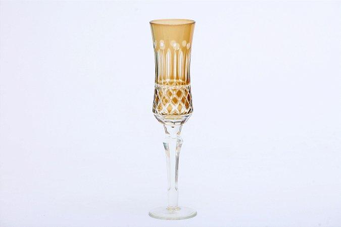 Conjunto de Taças de Champagne de Vidro Cristalino com Lapidação Âmbar