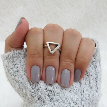 Anel de falange, triângulo, prateado - REF: F001