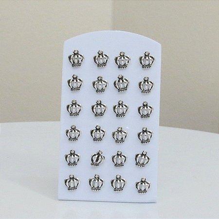 PACK 8 - 12 pares de brincos, R$ 0,98 cada, coroa, prateado