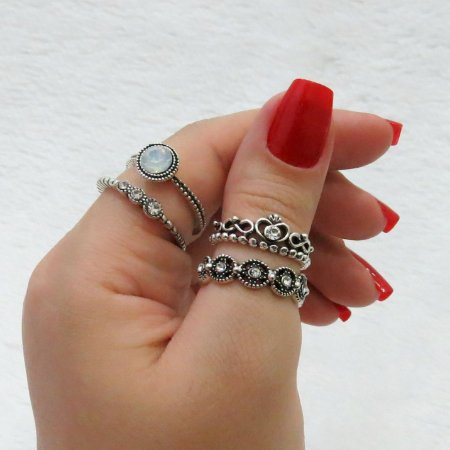 Conjunto de anéis com 4 peças - New Collection - Inspired Coroa - REF: K002