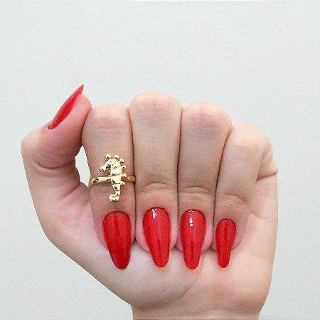 Anel de falange, cavalo marinho, dourado - REF: F013